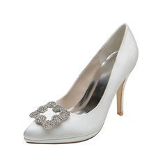 Women's Satin Closed Toe Pumps With Buckle Rhinestone