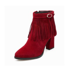 Women's Suede Chunky Heel Ankle Boots With Buckle Zipper Tassel shoes