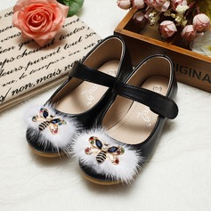 Girl's Leatherette Flat Heel Closed Toe Flats With Imitation Pearl Rhinestone