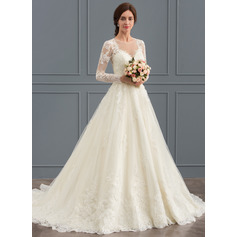 Ball-Gown Scoop Neck Court Train Tulle Lace Wedding Dress (002127273)