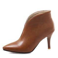 Frauen Kunstleder Stöckel Absatz Stiefel Stiefelette Schuhe