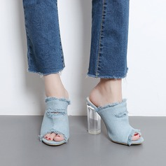Women's Denim Chunky Heel Sandals Pumps Peep Toe Slingbacks Slippers shoes