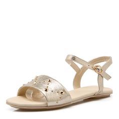 Kvinner PU Flat Hæl Sandaler Flate sko med Rivet sko