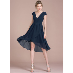 V-neck Asymmetrical Chiffon Bridesmaid Dress (266195870)