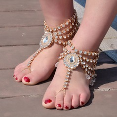 Rhinestone Alloy Foot Jewellery (Sold in a single piece) (107130787)