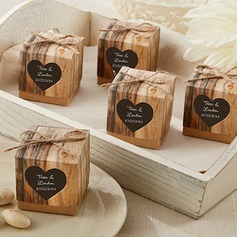 Hearts in Love Rustic Wood Print Favor Boxes