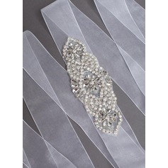 Nice Organza Sash With Rhinestones/Imitation Pearls