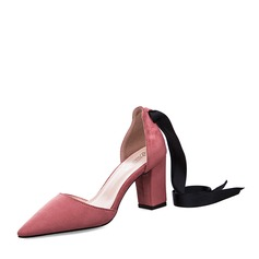 Women's Suede Chunky Heel Closed Toe Pumps Sandals