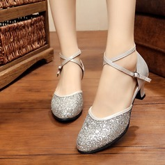 Women's Leatherette Sparkling Glitter Heels Ballroom With Buckle Dance Shoes