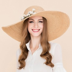 Ladies' Fashion Rattan Straw With Silk Flower Floppy Hat/Beach/Sun Hats/Kentucky Derby Hats