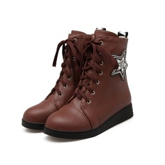 Women's Leatherette Flat Heel Ankle Boots Riding Boots With Pearl Braided Strap shoes