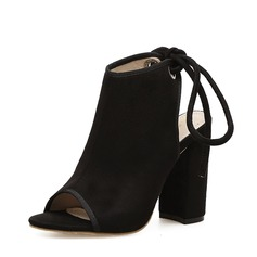 Women's Suede Chunky Heel Pumps Boots Peep Toe Slingbacks With Lace-up shoes