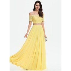 A-Line Off-the-Shoulder Floor-Length Chiffon Prom Dresses With Lace