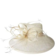 Ladies' Glamourous Cambric With Feather Bowler/Cloche Hat