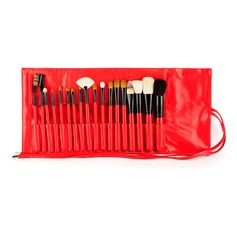 Natural Goat Hair/Pony Hair Utility 18Pcs Red Pouch Makeup Supply