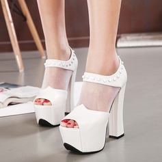 Women's Leatherette Chunky Heel Sandals Platform Peep Toe With Hollow-out shoes