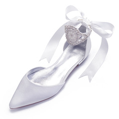 Women's Satin Flat Heel Pumps With Bowknot Rhinestone Lace-up