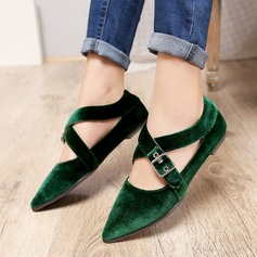 Women's Velvet Flat Heel Flats With Buckle shoes