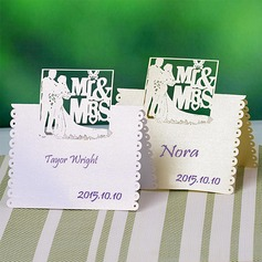 """Mr & Mrs"" Parel Papier Plaatskaarten"