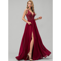 V-neck Floor-Length Chiffon Prom Dresses With Lace Sequins Split Front (272235500)
