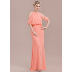 Trumpet/Mermaid Scoop Neck Floor-Length Chiffon Bridesmaid Dress With Ruffle