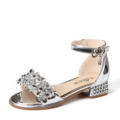 Girl's Patent Leather Low Heel Peep Toe Sandals With Buckle Rhinestone (207121226)
