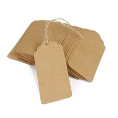 100pcs 9.5*5cm Wave Top Side Rounded Blank Kraft Paper Tags