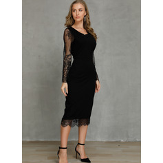 Polyester/Cotton With Lace/Solid Knee Length Dress (199221963)