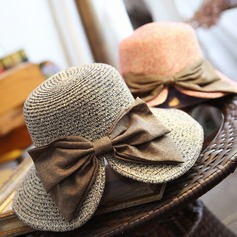 Ladies' Fashion Rattan Straw With Bowknot Floppy Hat/Beach/Sun Hats