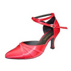 Women's Patent Leather Heels Sandals Pumps Ballroom With Ankle Strap Hollow-out Dance Shoes