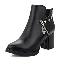 Women's Leatherette Chunky Heel Boots With Rivet shoes