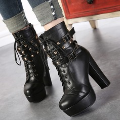 Women's Leatherette Chunky Heel Pumps With Rivet Buckle Zipper Lace-up shoes