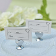 """Love Story""/Heart Shaped Heart Shaped Zinc Alloy Place Card Holders"