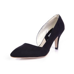 Suede Spool Heel Pumps Closed Toe shoes