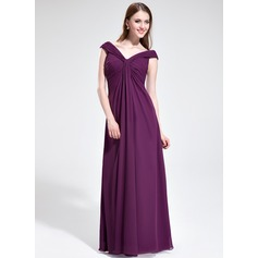 Empire Off-the-Shoulder Floor-Length Chiffon Prom Dress With Ruffle