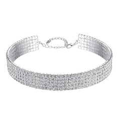 Alliage/Strass avec Strass Dames Colliers