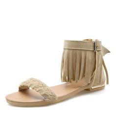 Women's Suede Flat Heel Sandals Flats Peep Toe With Buckle Tassel shoes