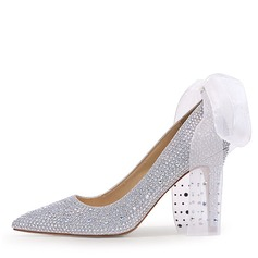Women's Leatherette Stiletto Heel Closed Toe Pumps With Crystal Heel Lace-up