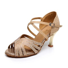 Women's Suede Heels Sandals Latin With Rhinestone Dance Shoes