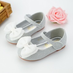 Girl's Round Toe Ballet Flat Leatherette Flat Heel Flats Flower Girl Shoes With Beading Bowknot Velcro