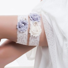 Marvelous Lace With Rhinestone Imitation Pearls Wedding Garters