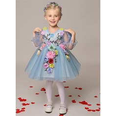 A-Line/Princess Short/Mini Flower Girl Dress - Organza Long Sleeves V-neck With Embroidered/Flower(s)