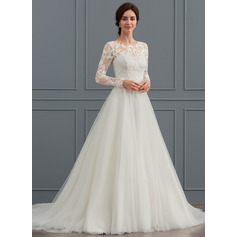Ball-Gown/Princess Scoop Neck Sweep Train Tulle Wedding Dress (002127265)