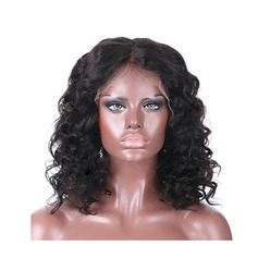 4A Non remy Wavy Human Hair Lace Front Wigs 260g