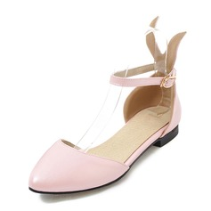 Women's Leatherette Flat Heel Sandals Flats Closed Toe Mary Jane With Buckle shoes