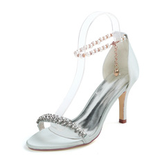 Women's Satin Stiletto Heel Sandals With Imitation Pearl Rhinestone