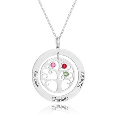 Custom Sterling Silver Engraving/Engraved Circle Three Birthstone Necklace With Family Tree - Birthday Gifts Mother's Day Gifts