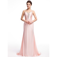 A-Line/Princess Sweetheart Sweep Train Charmeuse Evening Dress With Ruffle Beading