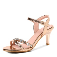 Women's Leatherette Stiletto Heel Sandals Pumps With Rhinestone Buckle shoes