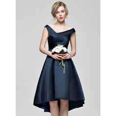 A-Line/Princess Off-the-Shoulder Asymmetrical Satin Bridesmaid Dress With Ruffle